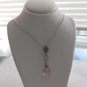 Swarovski Rose Pink Crystal Pendant Silver Chain